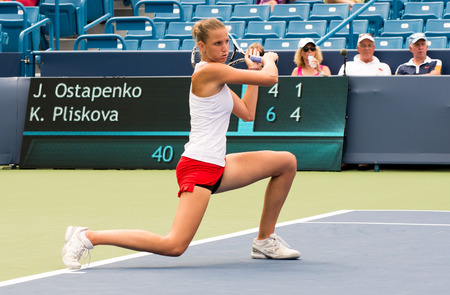 forehand: Mason, Ohio - August 16, 2016: Karolina Pliskova in a match at the Western and Southern Open in Mason, Ohio, on August 16, 2016.