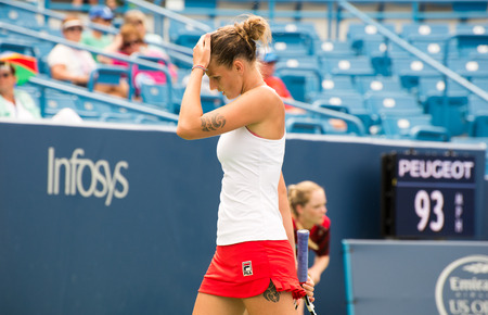 oh: Mason, Ohio - August 16, 2016: Karolina Pliskova in a match at the Western and Southern Open in Mason, Ohio, on August 16, 2016.