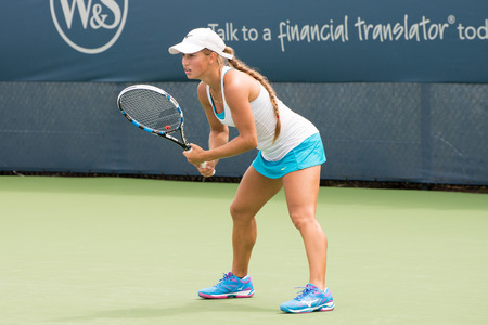 atp: Mason, Ohio - August 16, 2016: Yulia Putintseva in a match at the Western and Southern Open in Mason, Ohio, on August 16, 2016. Editorial