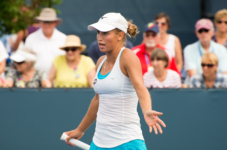 oh: Mason, Ohio - August 16, 2016: Yulia Putintseva in a match at the Western and Southern Open in Mason, Ohio, on August 16, 2016. Editorial