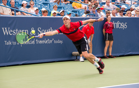 oh: Mason, Ohio - August 15, 2016: Sam Querrey  in a first round match at the Western and Southern Open in Mason, Ohio, on August 15, 2016.