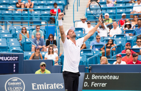 Mason, Ohio - August 15, 2016: Julien Benneteau  in a first round match at the Western and Southern Open in Mason, Ohio, on August 15, 2016. Benneteau won the match, upsetting David Ferrer.