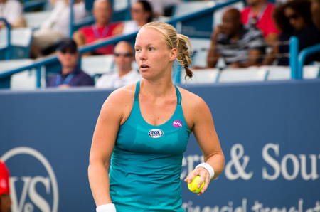 atp: Mason, Ohio - August 16, 2016: Kiki Bertens  in a match at the Western and Southern Open in Mason, Ohio, on August 16, 2016.