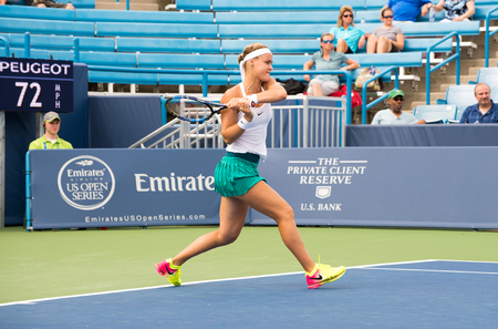 atp: Mason, Ohio - August 15, 2016: Anna Schmiedlova  in a first round match at the Western and Southern Open in Mason, Ohio, on August 15, 2016. Editorial