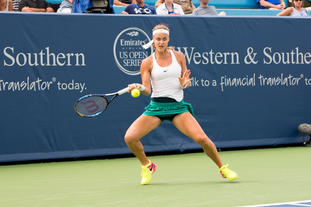 forehand: Mason, Ohio - August 15, 2016: Anna Schmiedlova  in a first round match at the Western and Southern Open in Mason, Ohio, on August 15, 2016. Editorial