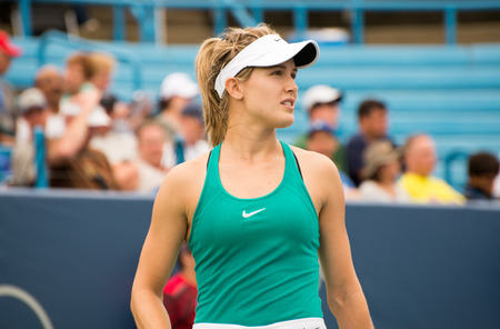 atp: Mason, Ohio - August 16, 2016: Eugenie Bouchard in a match at the Western and Southern Open in Mason, Ohio, on August 16, 2016. Editorial