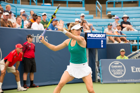 oh: Mason, Ohio - August 16, 2016: Eugenie Bouchard in a match at the Western and Southern Open in Mason, Ohio, on August 16, 2016. Editorial