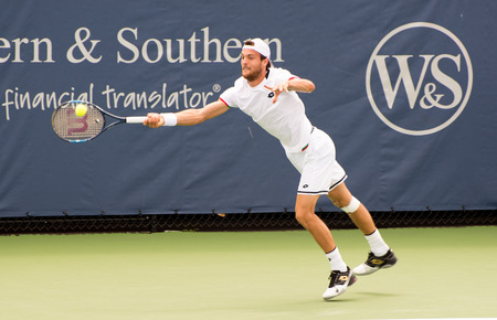 oh: Mason, Ohio - August 16, 2016: Joao Sousa  in a match at the Western and Southern Open in Mason, Ohio, on August 16, 2016.