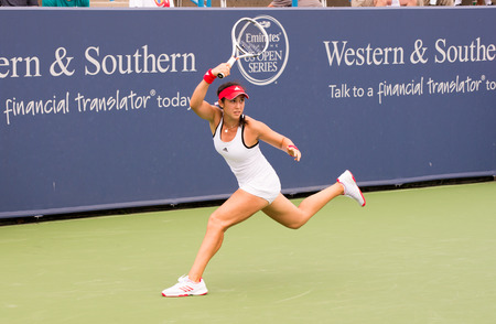atp: Mason, Ohio - August 16, 2016: Louisa Chirico in a match at the Western and Southern Open in Mason, Ohio, on August 16, 2016.