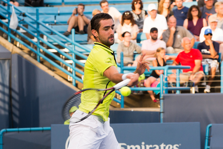 atp: Mason, Ohio - August 15, 2016: Marin Cilic in a first round match at the Western and Southern Open in Mason, Ohio, on August 15, 2016.