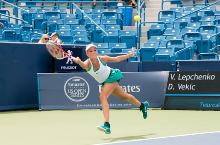 oh: Mason, Ohio - August 13, 2016: Donna Vekic  in a qualifying match at the Western and Southern Open in Mason, Ohio, on August 13, 2016. Editorial