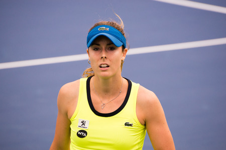 cornet: Mason, Ohio - August 13, 2016: Alize Cornet in a qualifying match at the Western and Southern Open in Mason, Ohio, on August 13, 2016.