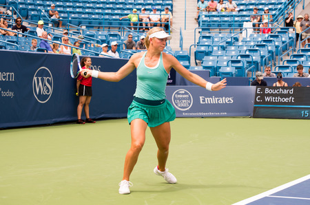 oh: Mason, Ohio - August 13, 2016: Carina Witthoeft  in a qualifying match versus Eugenie Bouchard at the Western and Southern Open in Mason, Ohio, on August 13, 2016. Editorial