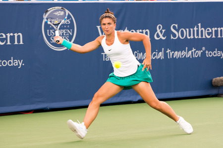 forehand: Mason, Ohio - August 15, 2016: Sara Errani in a first round match at the Western and Southern Open in Mason, Ohio, on August 15, 2016.