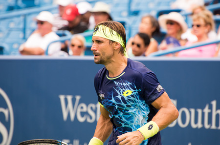 oh: Mason, Ohio - August 15, 2016: David Ferrer  in a first round match at the Western and Southern Open in Mason, Ohio, on August 15, 2016.