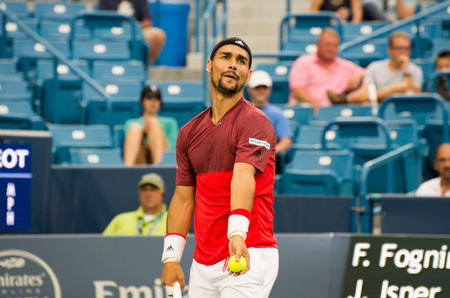 atp: Mason, Ohio - August 16, 2016: Fabio Fognini in a match at the Western and Southern Open in Mason, Ohio, on August 16, 2016.