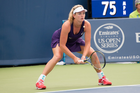 oh: Mason, Ohio - August 15, 2016: Coco Vandeweghe in a first round match at the Western and Southern Open in Mason, Ohio, on August 15, 2016. Editorial