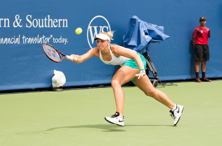 forehand: Mason, Ohio - August 13, 2016: Sabine Lisiki in a qualifying match at the Western and Southern Open in Mason, Ohio, on August 13, 2016. Editorial