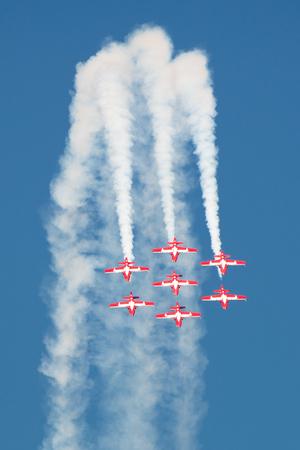 Owensboro, Kentucky - October 1, 2016:  Canadian Royal Air Force Snowbirds perform at the Owensboro Air Show in Owensboro, Kentucky on October 1, 2016