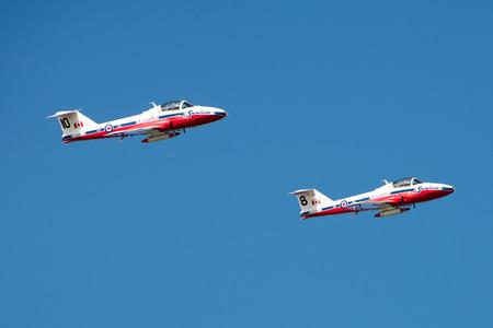 royal air force: Owensboro, Kentucky - October 1, 2016:  Canadian Royal Air Force Snowbirds perform at the Owensboro Air Show in Owensboro, Kentucky on October 1, 2016