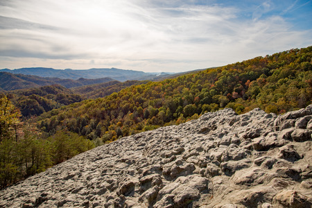A fall view from Knobby Rock Overlook in Blanton Forest State Nature Preserve near Wallins, Kentucky.
