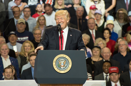 Louisville, Kentucky – March 20, 2017: President Donald J. Trump addresses a crowd at a rally inside Freedom Hall in Louisville, Kentucky, on March 20, 2017. Editorial