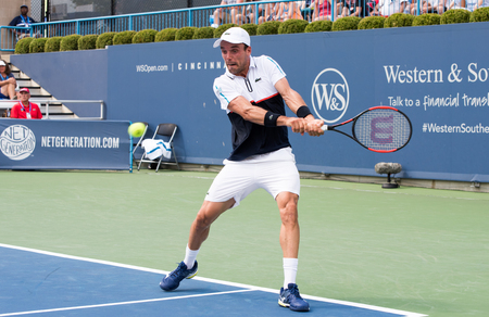 Mason, Ohio – August 15, 2017:  Roberto Bautista Agut in a first round match at the Western and Southern Open tennis tournament in Mason, Ohio, on August 15, 2017.
