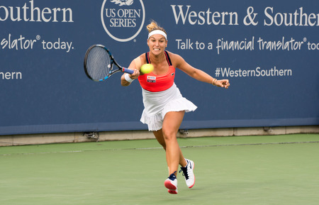 Mason, Ohio – August 17, 2017:  Dominika Cibulkova in a round of 16 match at the Western and Southern Open tennis tournament in Mason, Ohio, on August 17, 2017.