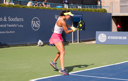 Mason, Ohio – August 12, 2017:  Sorana Cirstea in a qualifying match at the Western and Southern Open tennis tournament in Mason, Ohio, on August 12, 2017.