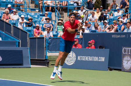 Mason, Ohio – August 15, 2017:  Juan Martin del Potro in a first round match at the Western and Southern Open tennis tournament in Mason, Ohio, on August 15, 2017.