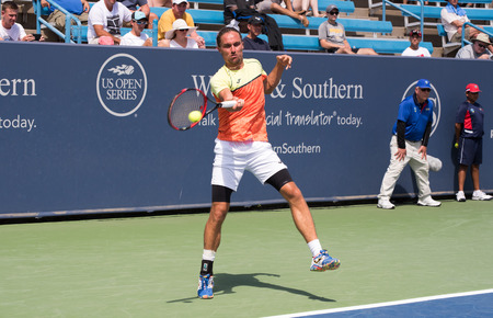 Mason, Ohio – August 13, 2017:  Alexandr Dolgopolov in a qualifying match at the Western and Southern Open tennis tournament in Mason, Ohio, on August 13, 2017.