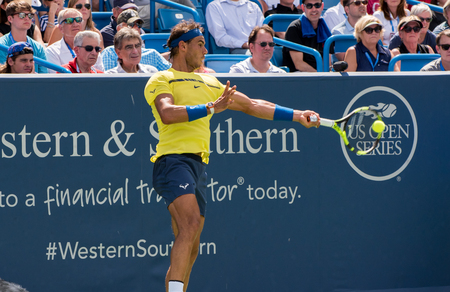 Mason, Ohio – August 18, 2017:  Rafael Nadal in a round of 16 match the Western and Southern Open tennis tournament in Mason, Ohio, on August 18, 2017.