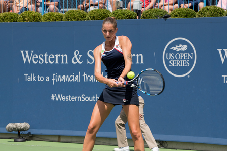 Mason, Ohio – August 18, 2017:  Karolina Pliskova in a quarterfinal match the Western and Southern Open tennis tournament in Mason, Ohio, on August 18, 2017.