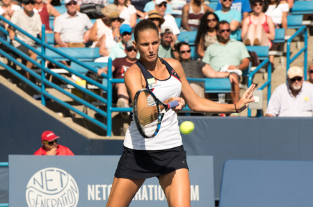 Mason, Ohio – August 18, 2017:  Karolina Pliskova in a round of 16 match the Western and Southern Open tennis tournament in Mason, Ohio, on August 18, 2017.