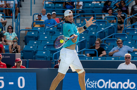 Mason, Ohio – August 18, 2017:  John Isner in a round of 16 match the Western and Southern Open tennis tournament in Mason, Ohio, on August 18, 2017. Sajtókép