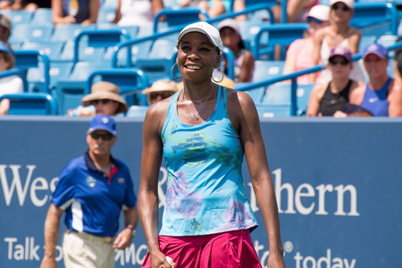 Mason, Ohio – August 15, 2017:  Venus Williams in a first round match at the Western and Southern Open tennis tournament in Mason, Ohio, on August 15, 2017.