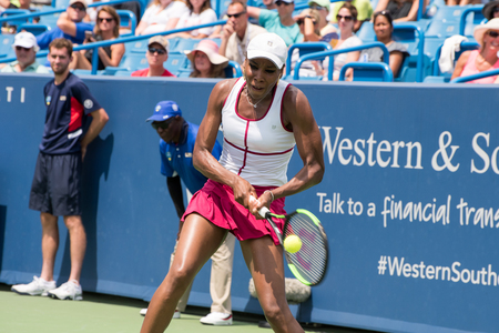 Mason, Ohio – August 16, 2017:  Venus Williams in a second round match at the Western and Southern Open tennis tournament in Mason, Ohio, on August 16, 2017.