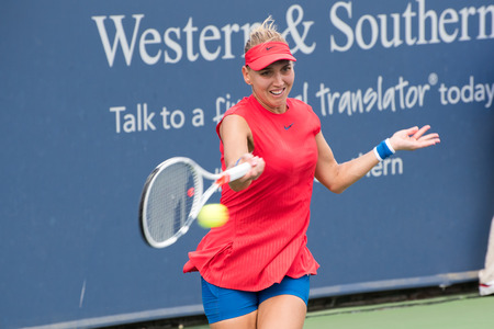 Mason, Ohio – August 16, 2017:  Elena Vesnina in a second round match at the Western and Southern Open tennis tournament in Mason, Ohio, on August 16, 2017.