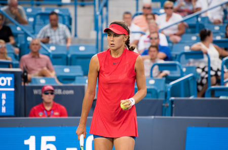 Mason, Ohio – August 16, 2017:  Natalia Vikhlyantseva in a second round match at the Western and Southern Open tennis tournament in Mason, Ohio, on August 16, 2017.