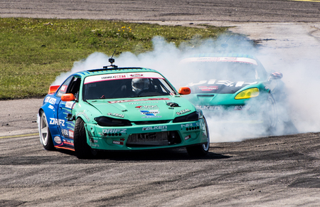 Orlando, Florida – April 28, 2018:  Drivers compete in Round 2 of Formula Drift in Orlando, Florida, on April 28, 2018. Редакционное