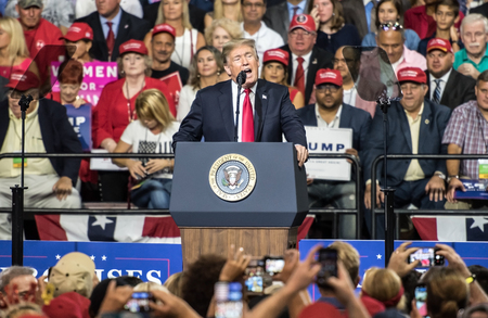 Tampa, Florida – July 31, 2018:  President Donald Trump addresses his supporters at a rally in Tampa, Florida, on July 31, 2018. Stock Photo - 105642841