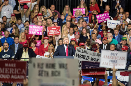 Tampa, Florida – July 31, 2018:  President Donald Trump addresses his supporters at a rally in Tampa, Florida, on July 31, 2018. Stock Photo - 105642843