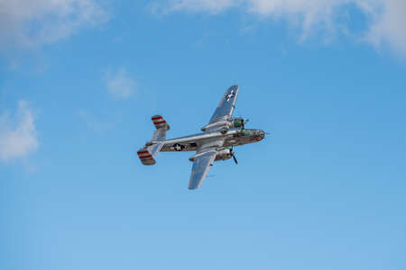 Sanford, Florida – October 31, 2020:  B17 bomber Panchito in the air at the Lockheed Martin Space and Air Show in Sanford, Florida, on October 31, 2020.