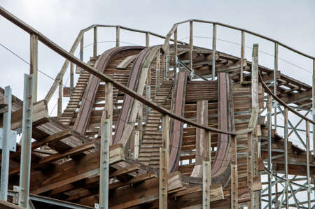 An old wooden roller coaster Stock Photo