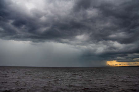 A thunderstorm moving over Lake Monroe in Florida.