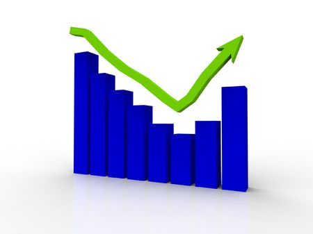 A bar graph showing recovery with an arrow rendered in 3d on a white background Stock Photo - 7606963