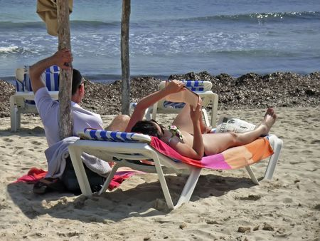 People on a beach in Majorca (Balearic Islands)                                                                photo