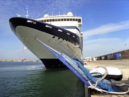 palma: Docked cruiseship in the Palma de Majorca port                                                           Stock Photo