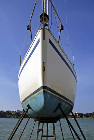 repaired: Sailboat on the dry dock to be repaired