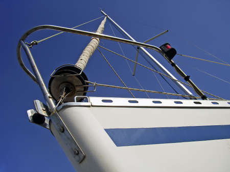 prow: Prow of a white sailboat